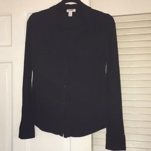 Black button up the front top